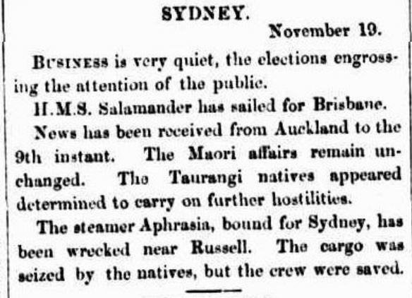 Brisbane Courier (Qld) - Aphrasia Wrecked - 21 Nov 1864