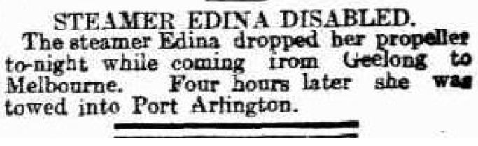 Express & Telegraph (Adelaide, SA) - Steamer Edina Disabled - 22 Mar 1907