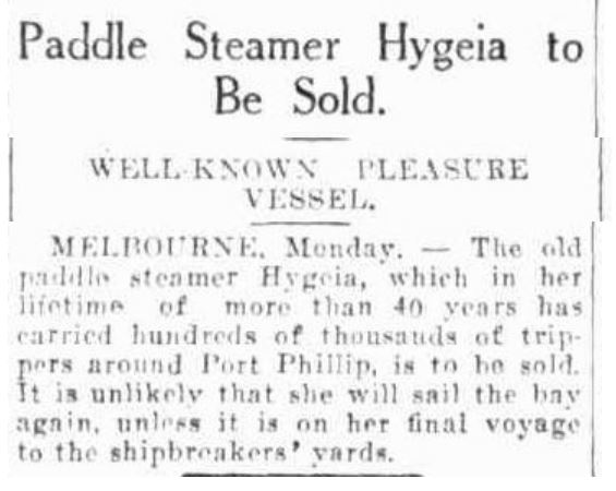 Advocate (Burnie, Tas) - Hygeia to be Sold - 28 Apr 1931