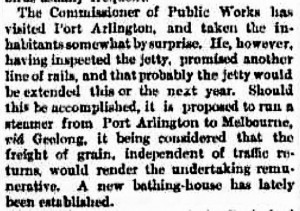 Argus 25th September 1868 - Portarlington Bathing House Article - Small