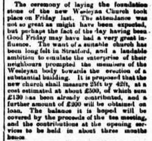 Stratford Wesleyan Church 15 Apr 1873