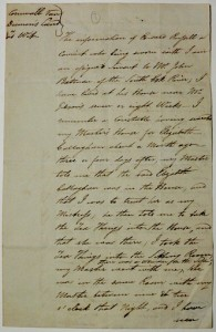 Batman Papers - Letter notifying Authorities of Eliza in Kingston Farm - Small