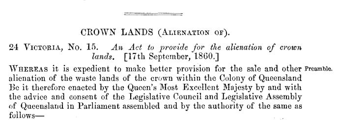 Queensland – The Alienation of Crown Lands Act of 1860