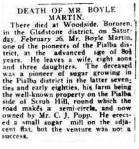Death of Boyle Martin - 14 Mar 1921
