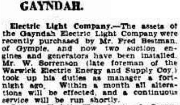 Gayndah Electric Light Co - 7 Jun 1929
