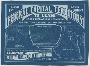 Land Lease Federal Capital Territory c 1927