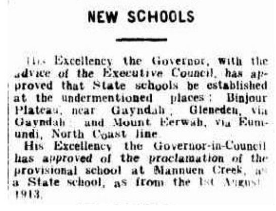 The Telegraph - New Schools - 1 Aug 1913