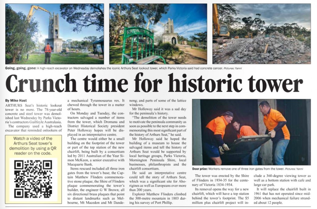 Mornington Peninsula News - Removal of Arthur Seat Tower - 18 Sep 2012