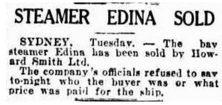 Advocate (Burnie, Tas) - Steamer Edina Sold - 13 Jul 1938