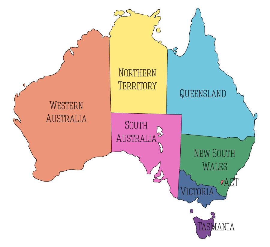 Australia - Map - States, Territories, Capitals - Fixed