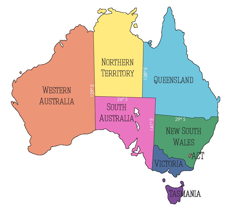 Australia Map - States, Territories, Capitals